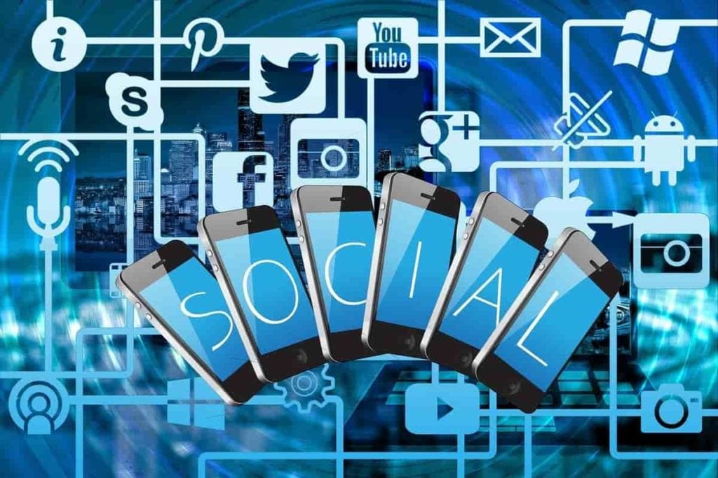 social media, redes sociales, marketing digital, azul, movill